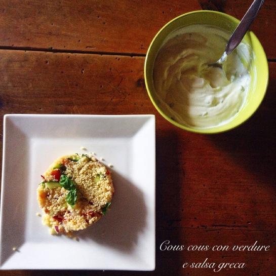 Cous cous con verdure e salsa greca